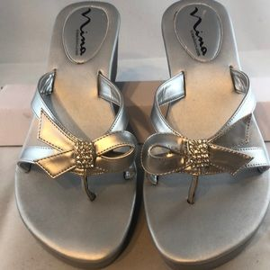 Nina Silver Wedge Sandal Flip Flop bow with bling!